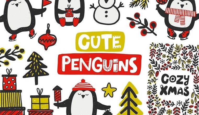 Christmas Penguin Clip Art 🐧❄ – Cute Elements for Your Designs