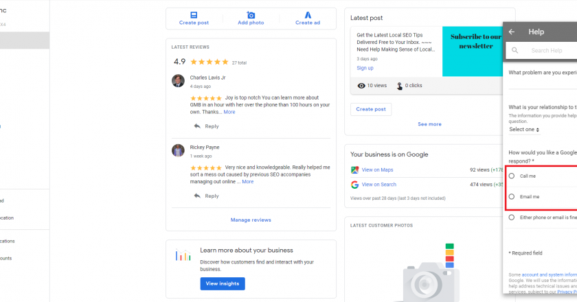 How do I Contact Google My Business Support?