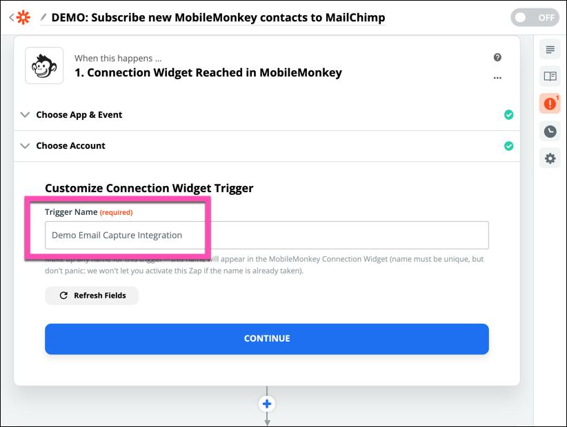 connection widget trigger name